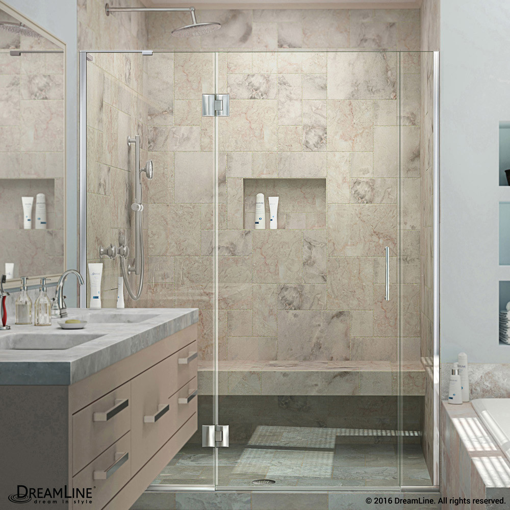 DreamLine D3290672L-01 Unidoor-X Hinged Shower Door in Chrome With Left-wall Bracket