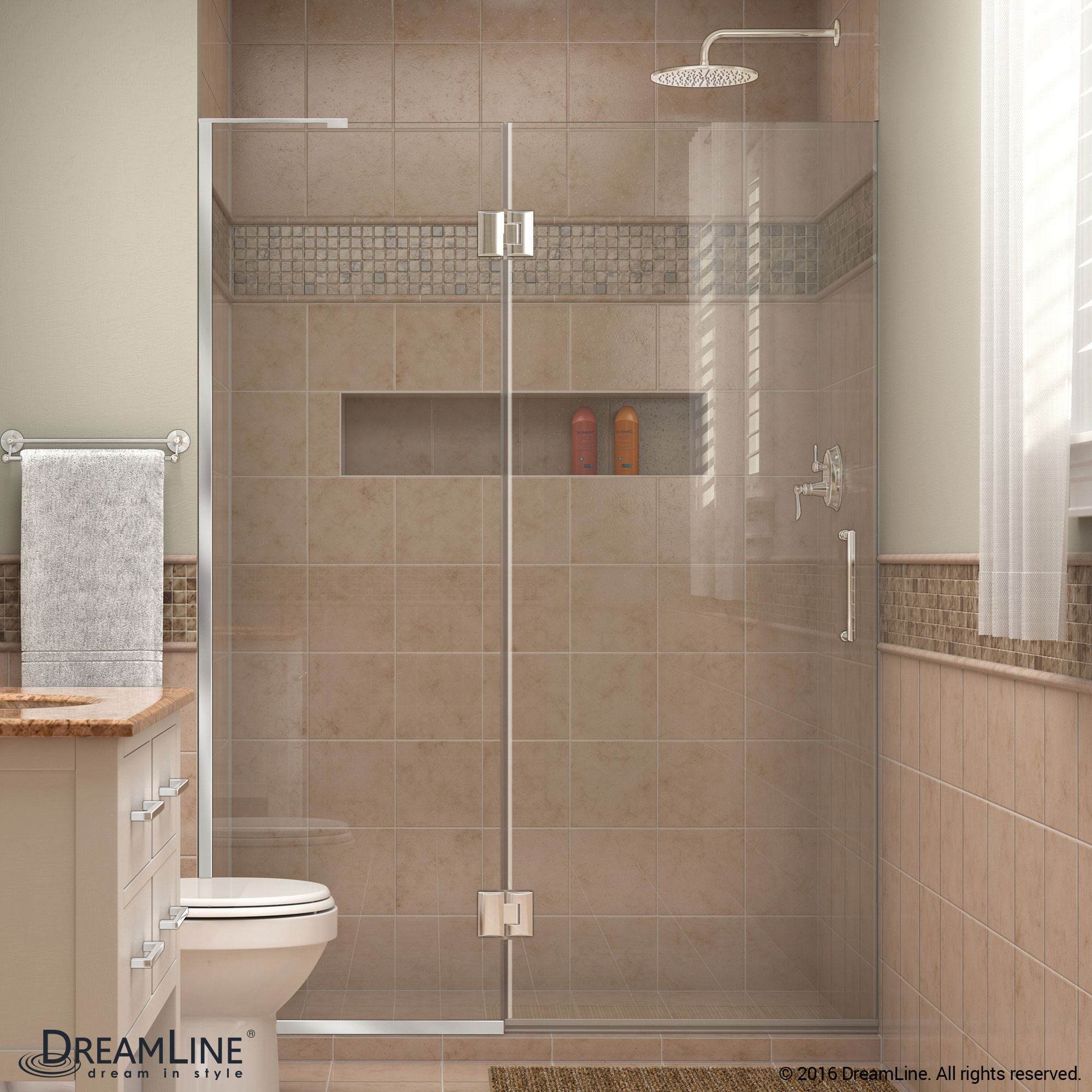DreamLine D32972L-01 Chrome Unidoor-X Hinged Shower Door With Left-wall Bracket