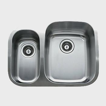 Ukinox D376.70.30.10L Oval 70/30 2 Basin Stainless Steel Kitchen Sink