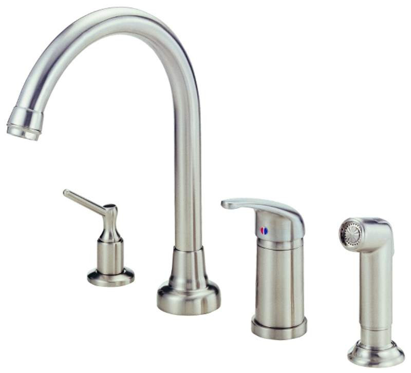 Danze D409112SS Stainless Steel Single Handle Kitchen Faucet With Soap Dispenser & Spray
