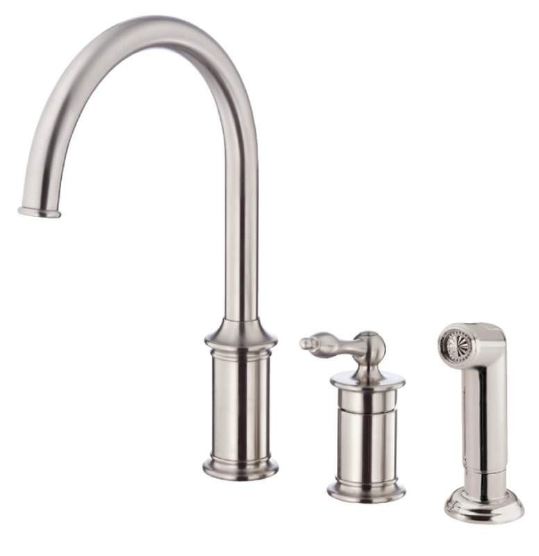 Danze D409910SS Prince™ Stainless Steel Single Handle High-Rise Kitchen Faucet With Side Spray