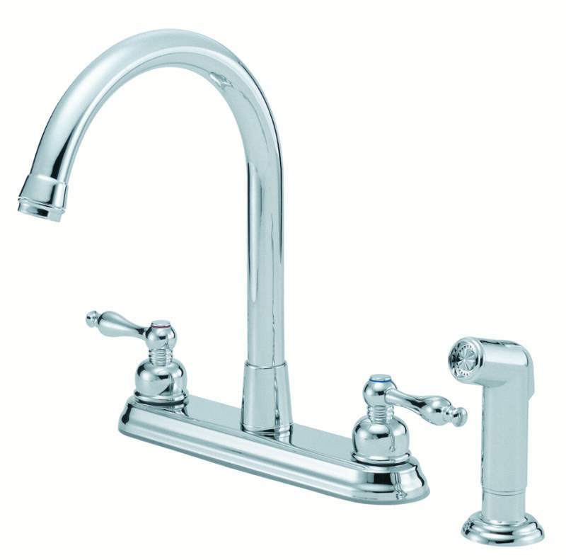 Danze D422255 Sheridan™ Two Handle High-Rise Kitchen Faucet With Spray In Chrome