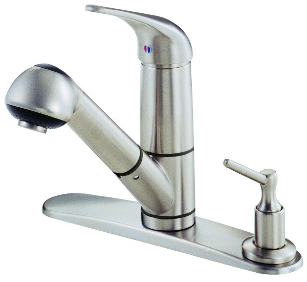 Danze D455512SS One Handle Kitchen Faucet With Soap Dispenser on Deck In Stainless Steel