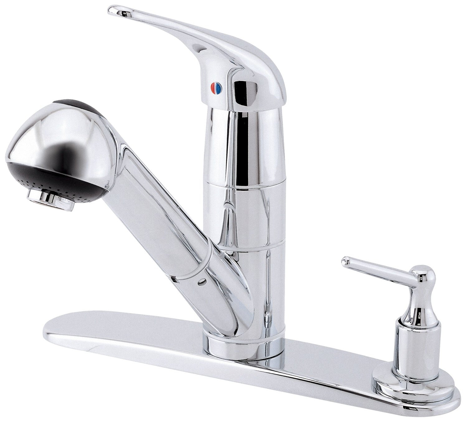 Danze D456612 One Handle Kitchen Faucet With Soap Dispenser on Deck In Chrome