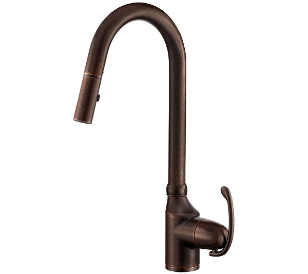 Danze D457121BR Anu Pull-Down Kitchen Faucet Lever Handle In Tumbled Bronze