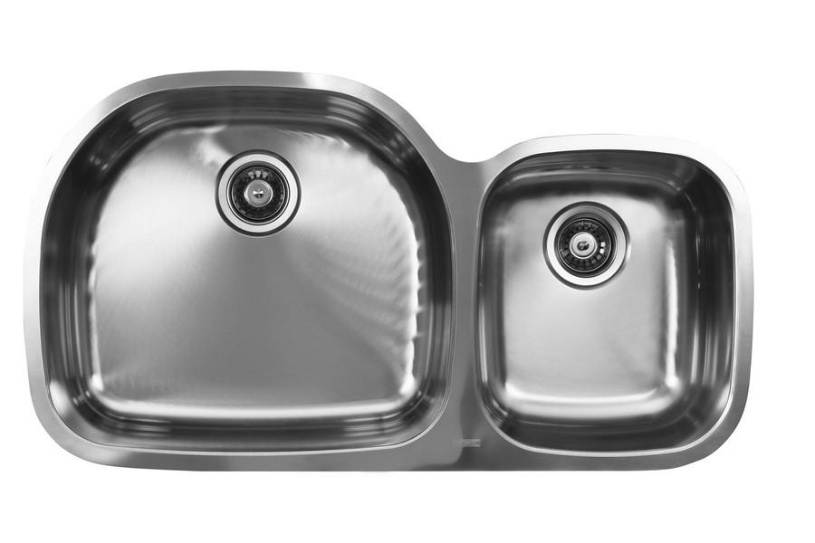 Ukinox D537.60.40.10L 60/40 2 Basin Stainless Steel Undermount Kitchen Sink