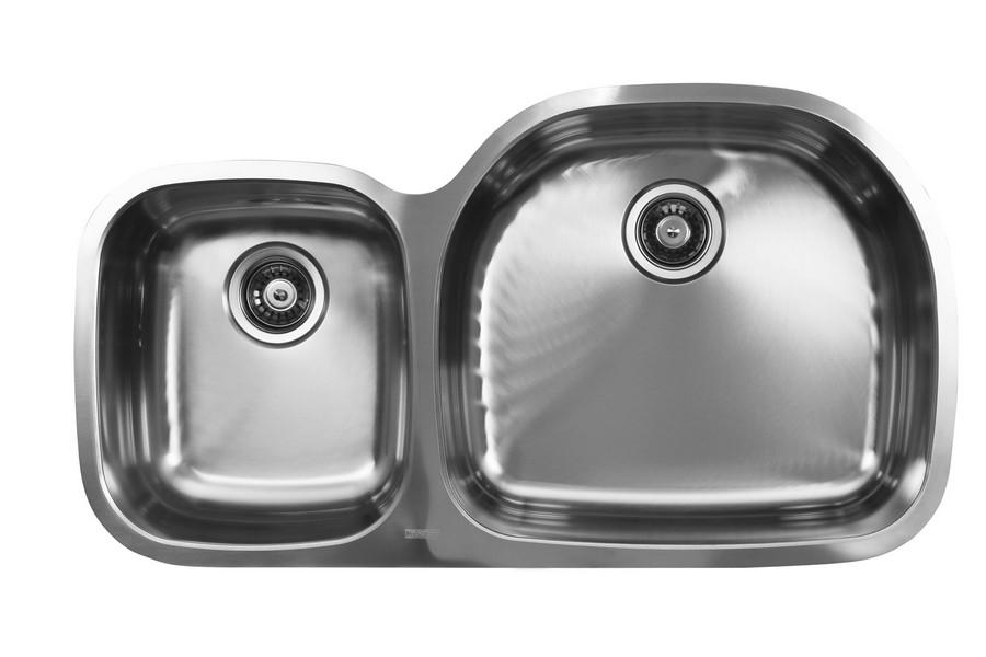 Ukinox D537.60.40.10R Double Bowl Stainless Steel Sink, D-shape Left Bowl