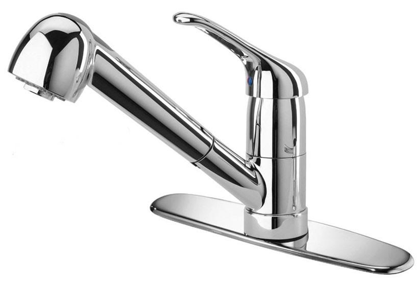 Polished Chrome LaToscana 45CR564 Single Hole Pull Out Kitchen Faucet
