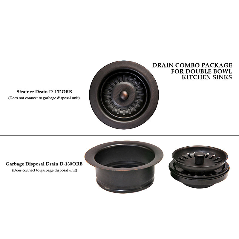 Premier Copper DC-1ORB Drain Combination Package for Double Bowl Kitchen Sinks in Oil Rubbed Bronze