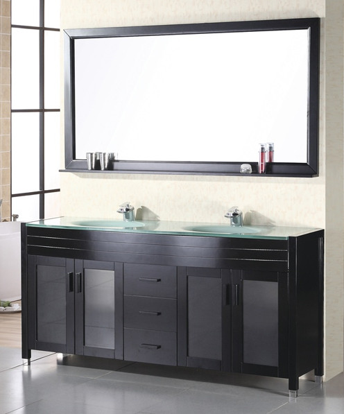 "Design Element DEC016A Waterfall 61"" Double Sink Bath Vanity W/ Tempered Glass Top"