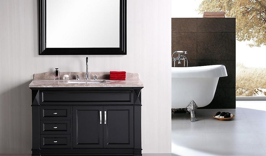 "Design Element DEC059B Hudson 48"" Single Sink Vanity Set in Espresso"
