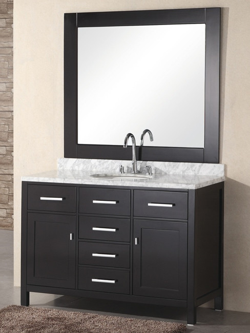 Design Element DEC076C London 48'' Espresso Finish Single Sink Bathroom Vanity W/ Mirror