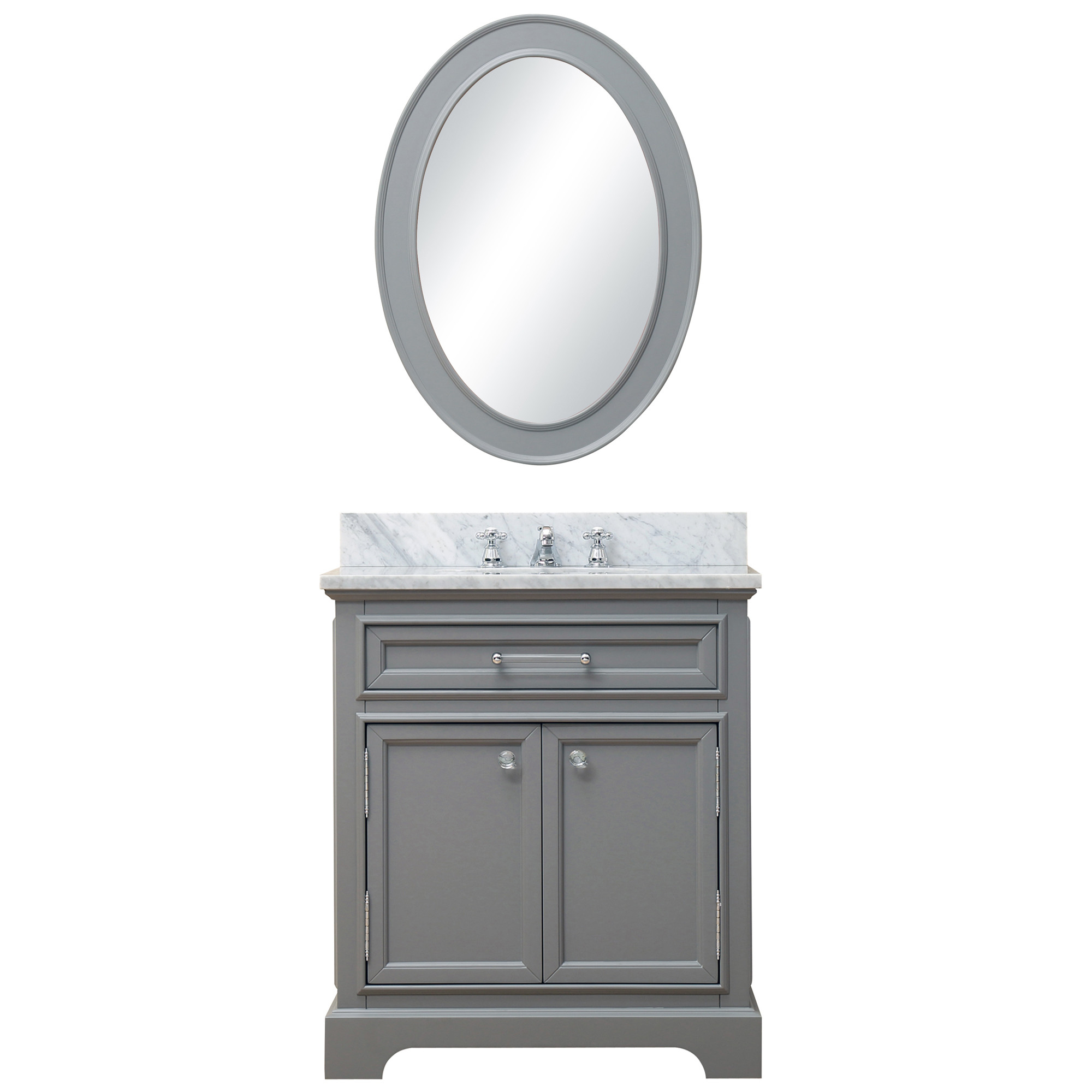 Water Creation Derby30GBF Grey Single Sink Vanity with Mirror And Faucet