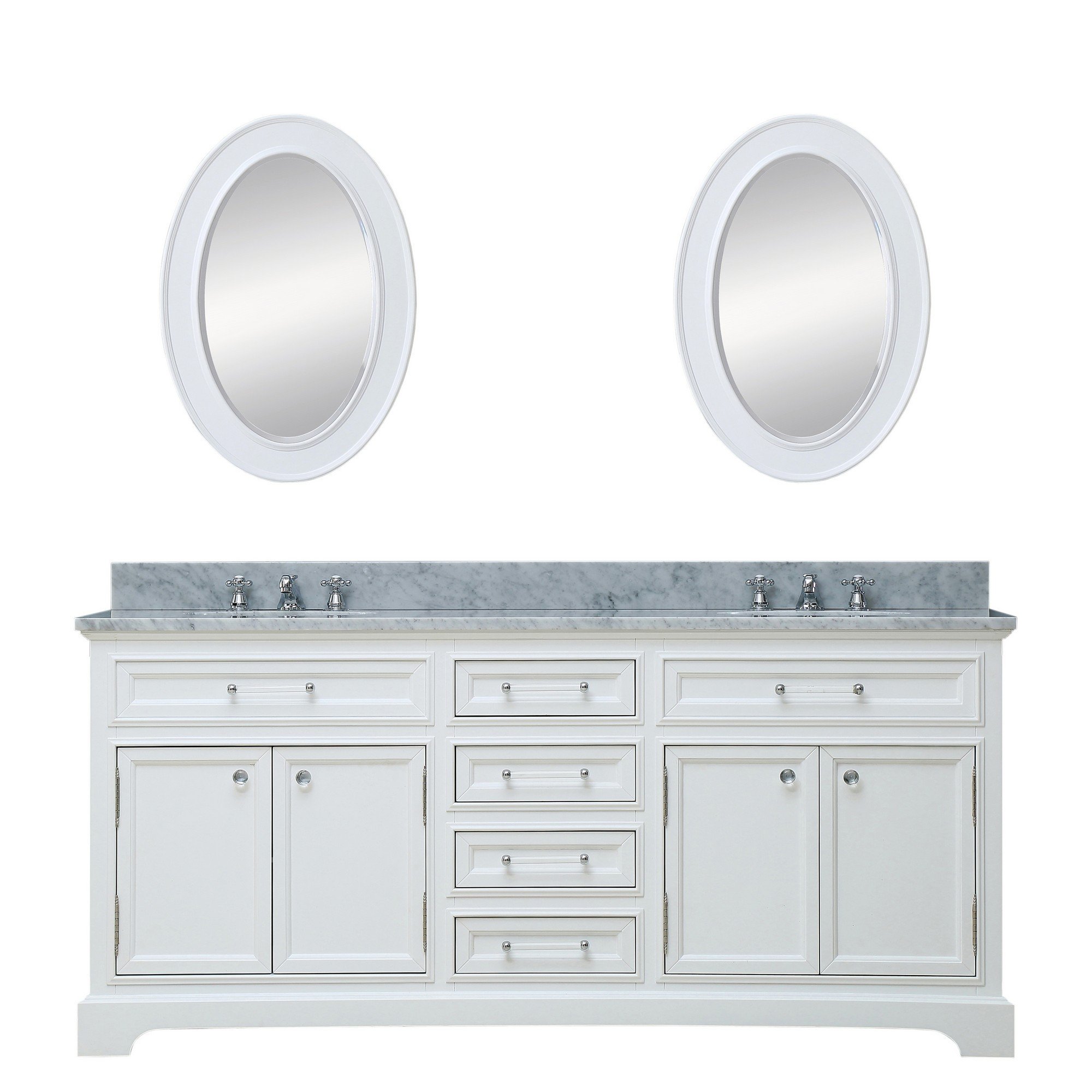 """Water Creation Derby 72WBF 72"""" White Double Vanity With Mirrors And Faucets"""