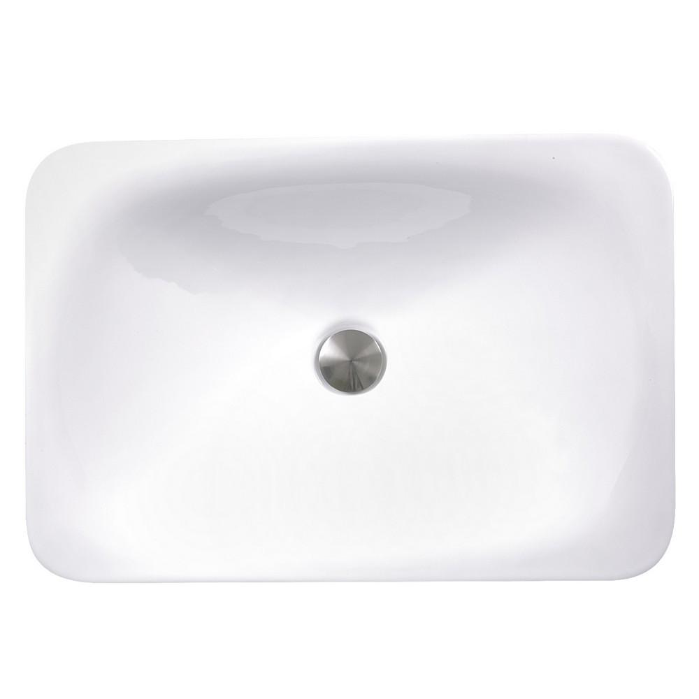 Nantucket Sinks DI-2114-R 21 Inch Rectangular Drop-In Ceramic Vanity Sink