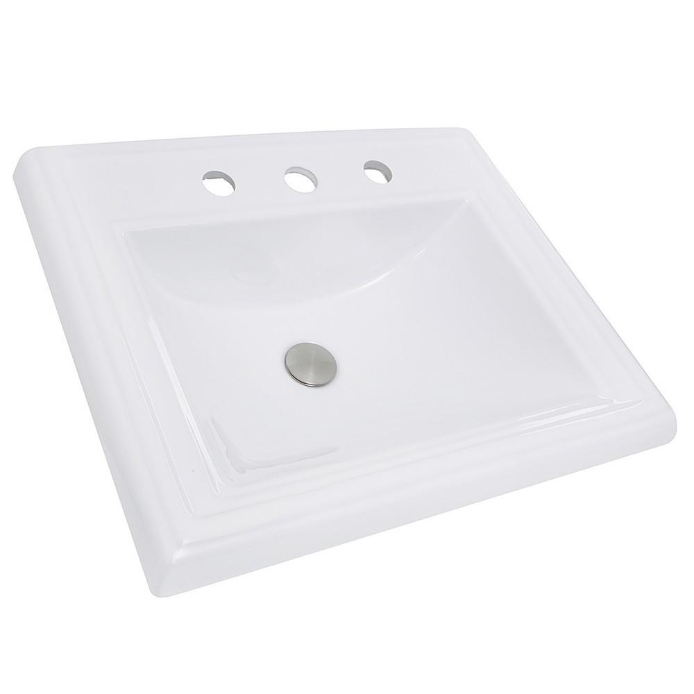 Nantucket Sinks DI-2418-R8 23 Inch Rectangular Drop-In Ceramic Vanity Sink