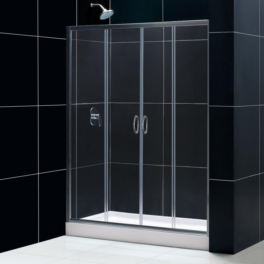 Dreamline DL-6114L-01CL Shower Door, Shower Base and Backwall Kit - Chrome