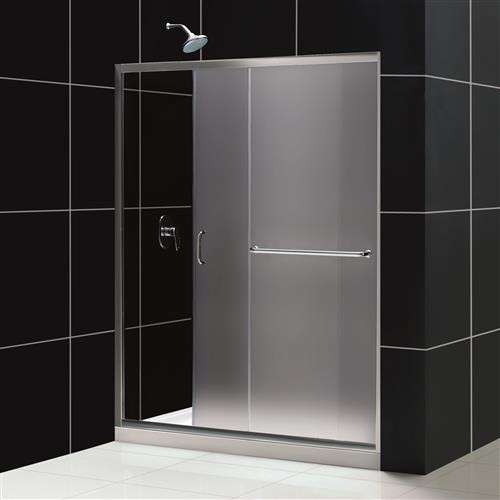 Dreamline DL-6116L-01FR Frosted Shower Door, Base and Backwall Kit - Chrome