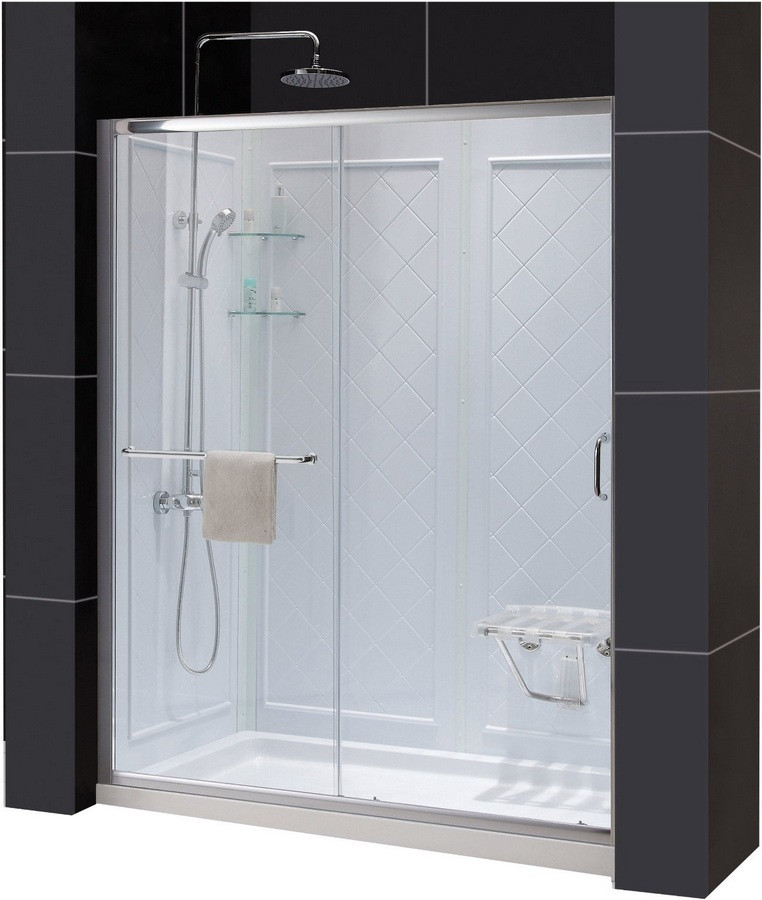 Dreamline DL-6117C-01CL Clear Shower Door, Base and Backwall Kit - Chrome