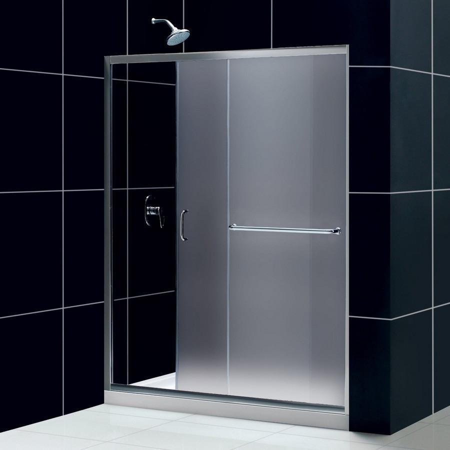 Dreamline DL-6117L-01FR Frosted Shower Door, Base & Backwall Kit - Chrome