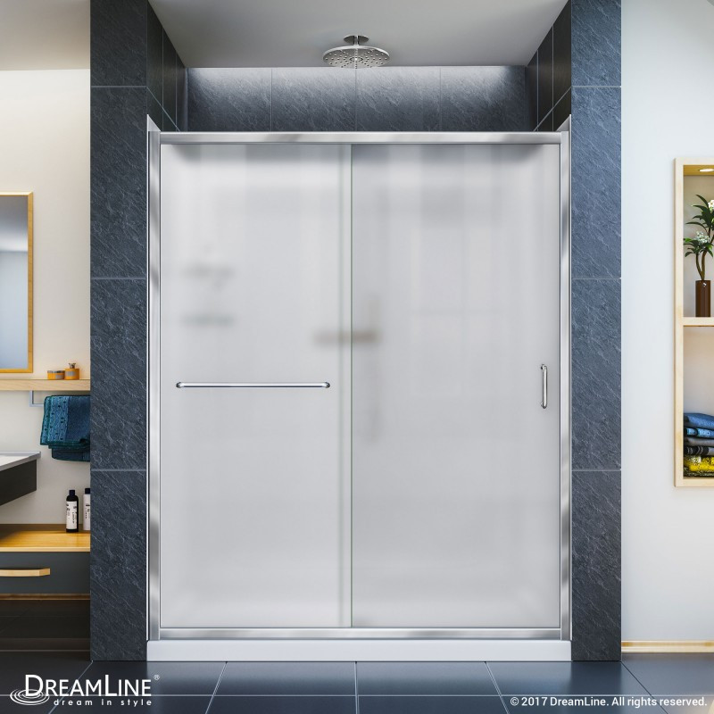 "Dreamline DL-6118C-FR Frosted Shower Door, 34"" by 60"" Base and Backwall Kit"