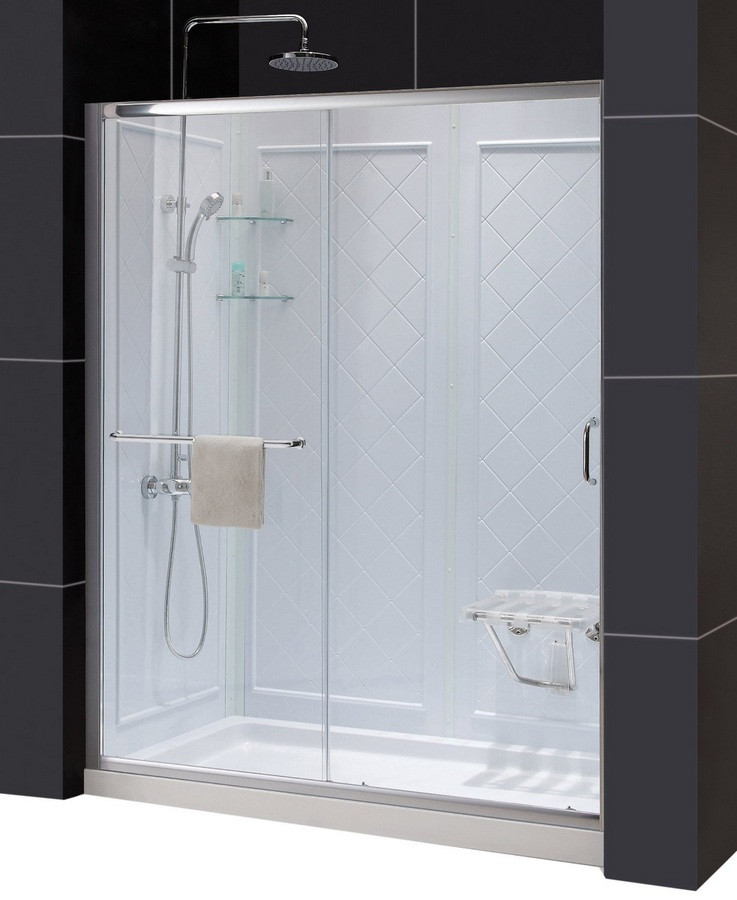 "Dreamline DL-6118R-CL Clear Shower Door, 34"" by 60"" Base and Backwall Kit"