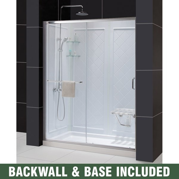 """Dreamline DL-6119R-CL Clear Shower Door, 36"""" by 60"""" Base and Backwall Kit"""