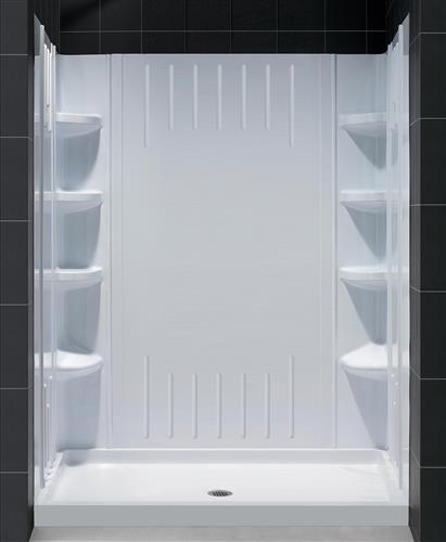 "DreamLine DL-6147L-01 SlimLine 34"" by 60"" Shower Base & QWALL-3 Backwall Kit, Left"