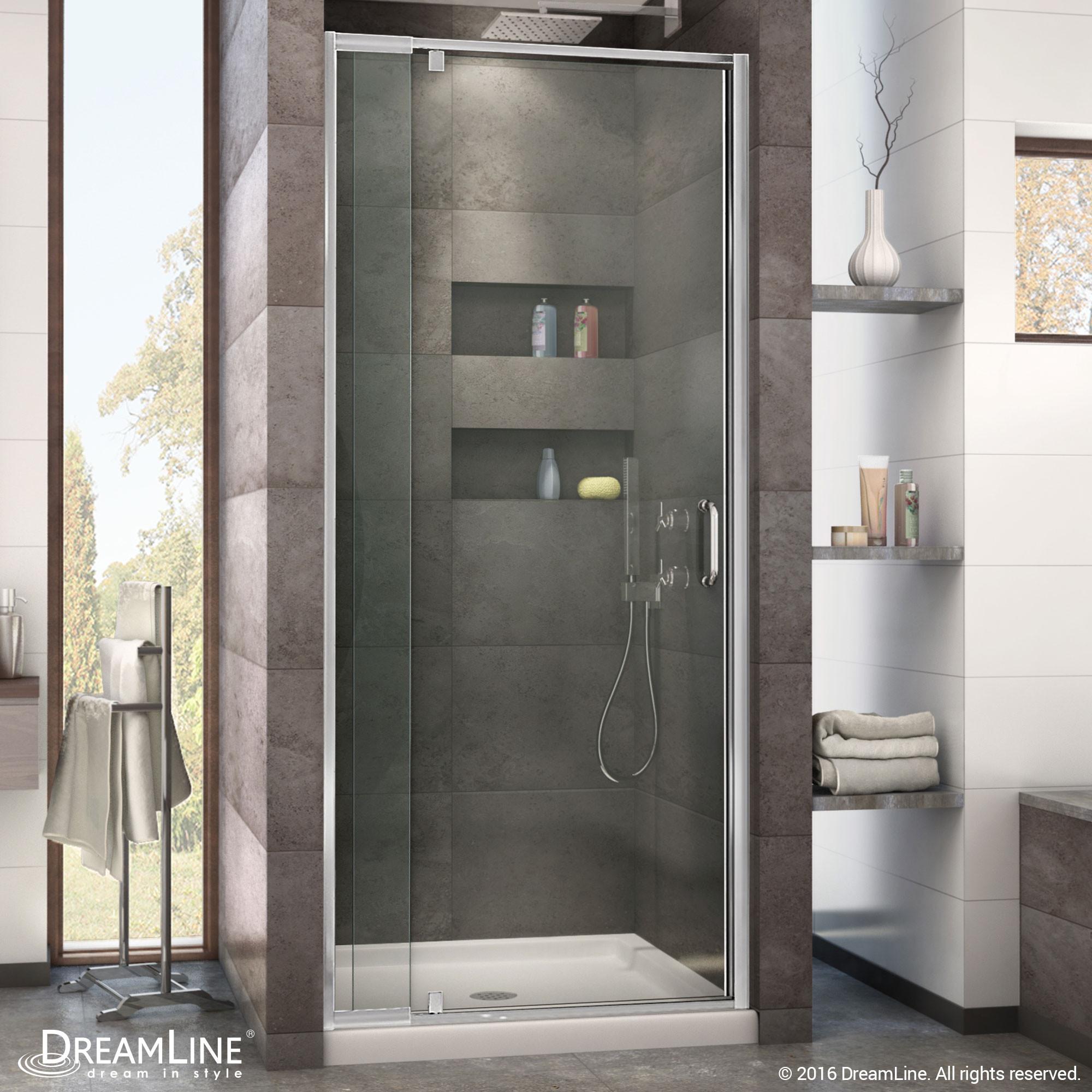 DreamLine DL-6215C-01CL Flex 32-in. Frameless Shower Door and Base Kit, Chrome Hardware