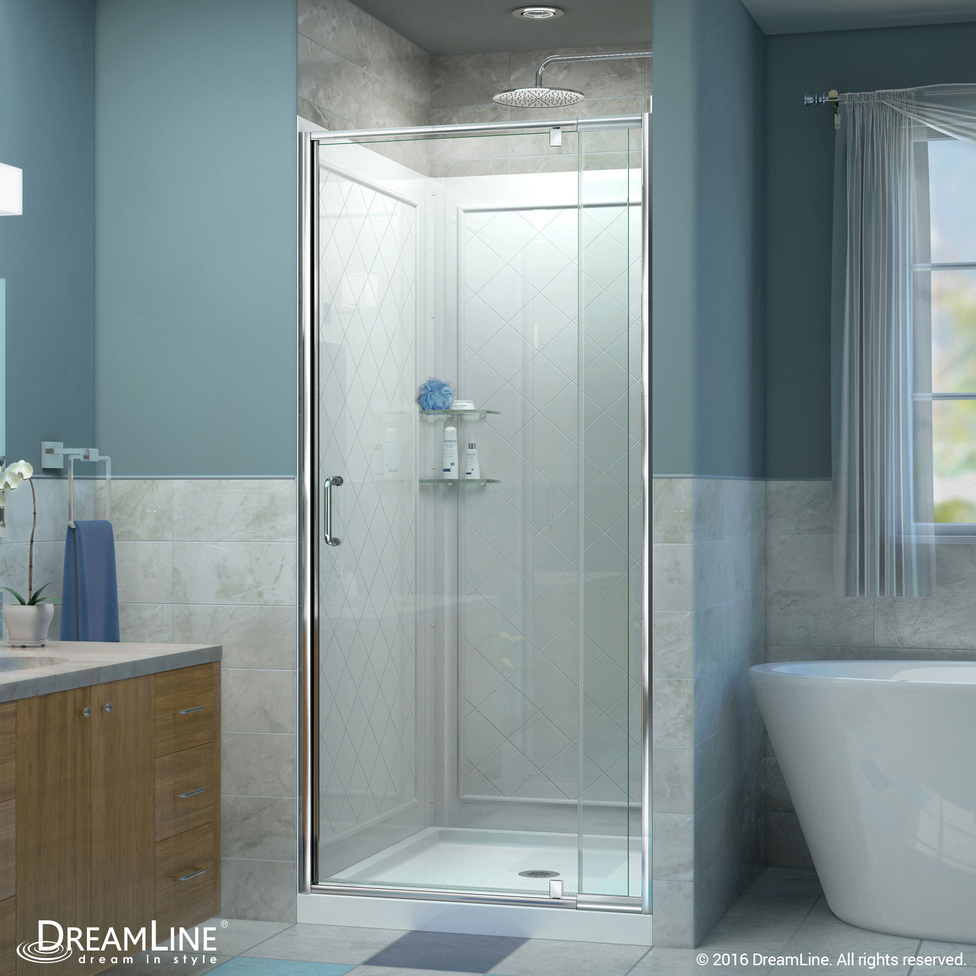 DreamLine DL-6217C-01CL Flex 32-in. Frameless Shower Door, Backwall and Base Kit, Chrome Hardware