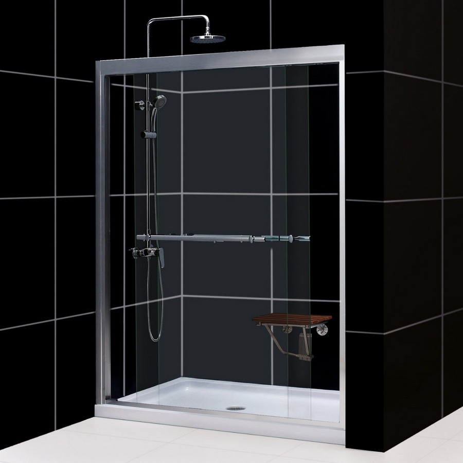 "Dreamline DL-6952C-..CL Duet Shower Door and 34"" by 60"" Base Center Drain"