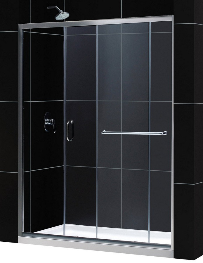 """Dreamline DL-6970C-CL Clear Shower Door and 30"""" by 60"""" Base Center Drain"""