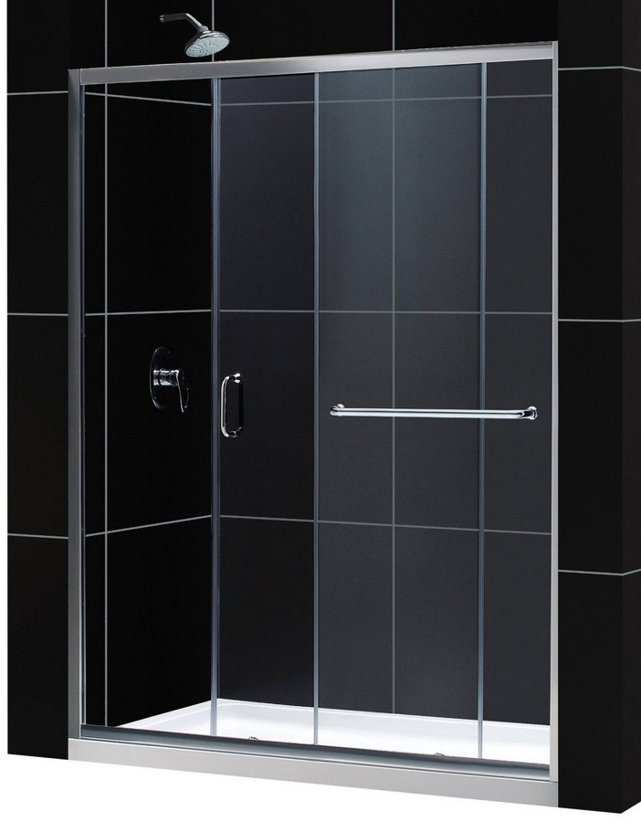 """Dreamline DL-6970L-CL Clear Shower Door and 30"""" by 60"""" Base Left Drain"""