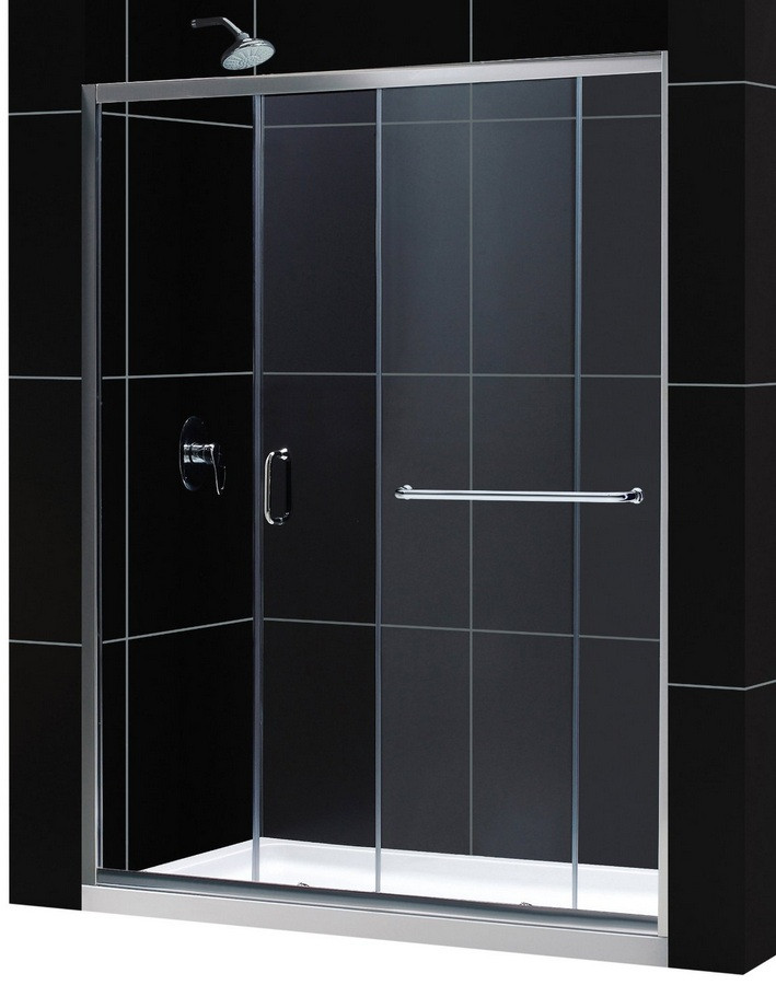 "Dreamline DL-6970R-CL Clear Shower Door and 30"" by 60"" Base Center Drain"