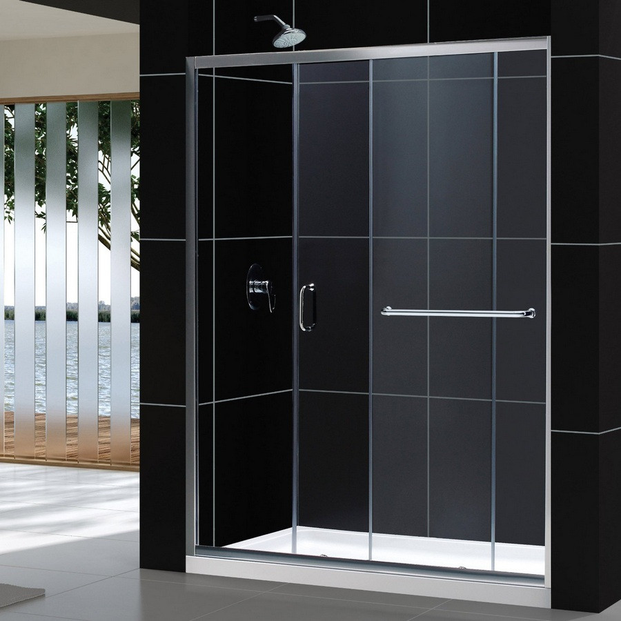 """Dreamline DL-6971L-CL Clear Shower Door and 32"""" by 60"""" Base Left Drain"""