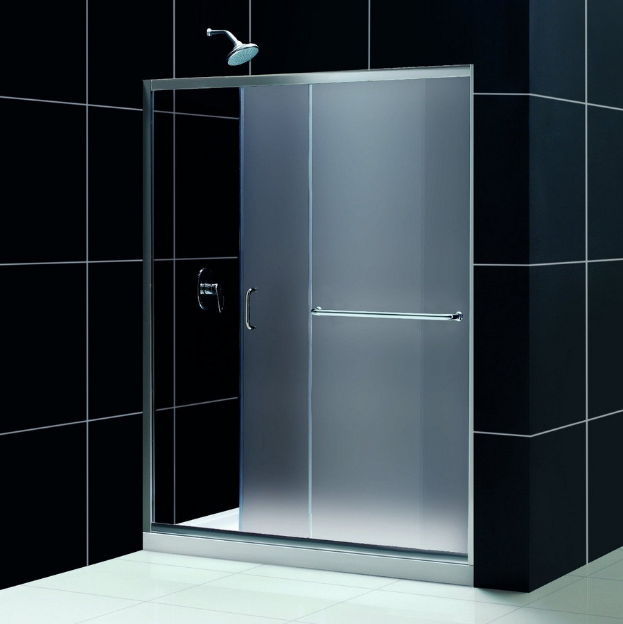 """Dreamline DL-6972C-FR Frosted Shower Door and 34"""" by 60"""" Base Center Drain"""