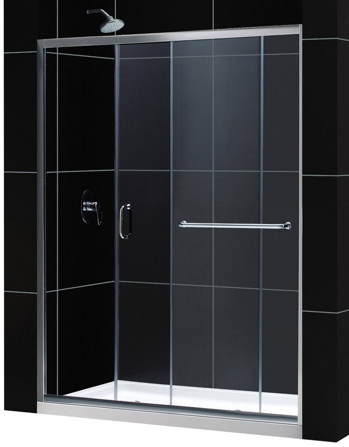 """Dreamline DL-6972L-CL Clear Shower Door and 34"""" by 60"""" Base Left Drain"""