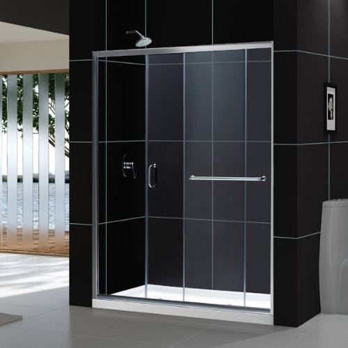"""Dreamline DL-6973C-CL Clear Shower Door and 36"""" by 60"""" Base Center Drain"""