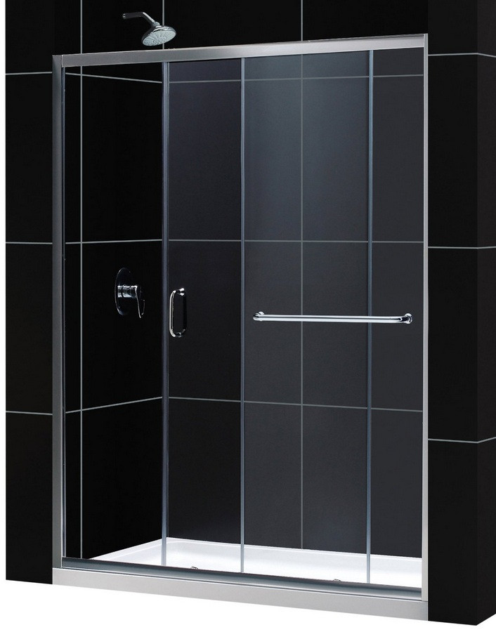 """Dreamline DL-6973R-CL Clear Shower Door and 36"""" by 60"""" Base Right Drain"""