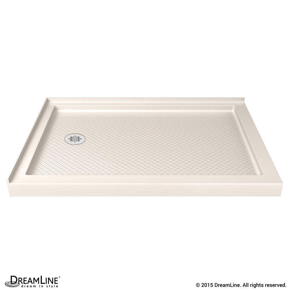 DreamLine 1034481-22 Biscuit SlimLine 34 Inch by 48 Inch Double Threshold Shower Base Left Hand Drain