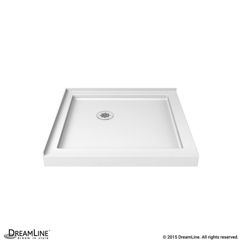 """DreamLine DLT-1036360 White SlimLine 36"""" by 36"""" Double Threshold Shower Base"""