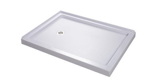 """DreamLine DLT-103648 White SlimLine 36"""" by 48"""" Double Threshold Shower Bas"""
