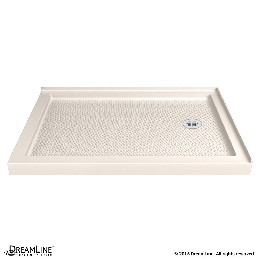 DreamLine DLT-1036602-22 SlimLine 36 Inch by 60 Inch Double Threshold Shower Base In Biscuit Color Right Hand Drain