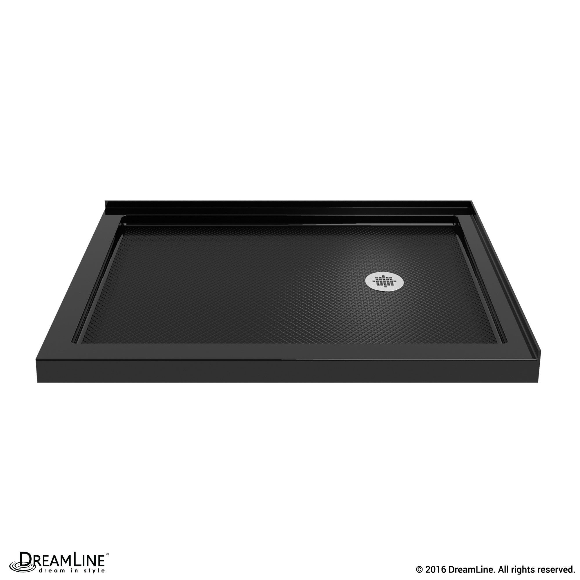 DreamLine DLT-1036602-88 SlimLine 36 Inch by 60 Inch Double Threshold Shower Base In Black Color Right Hand Drain