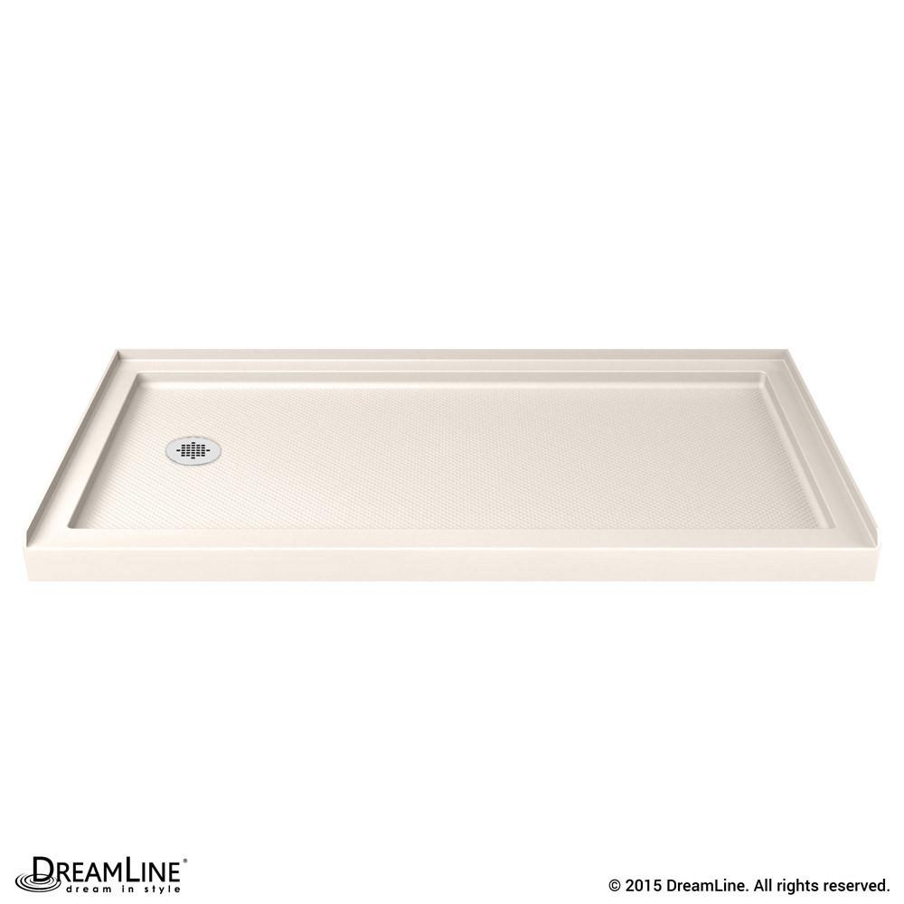 DreamLine DLT-1130601-22 SlimLine 30 Inch by 60 Inch Single Threshold Shower Base In Biscuit Color Left Hand Drain