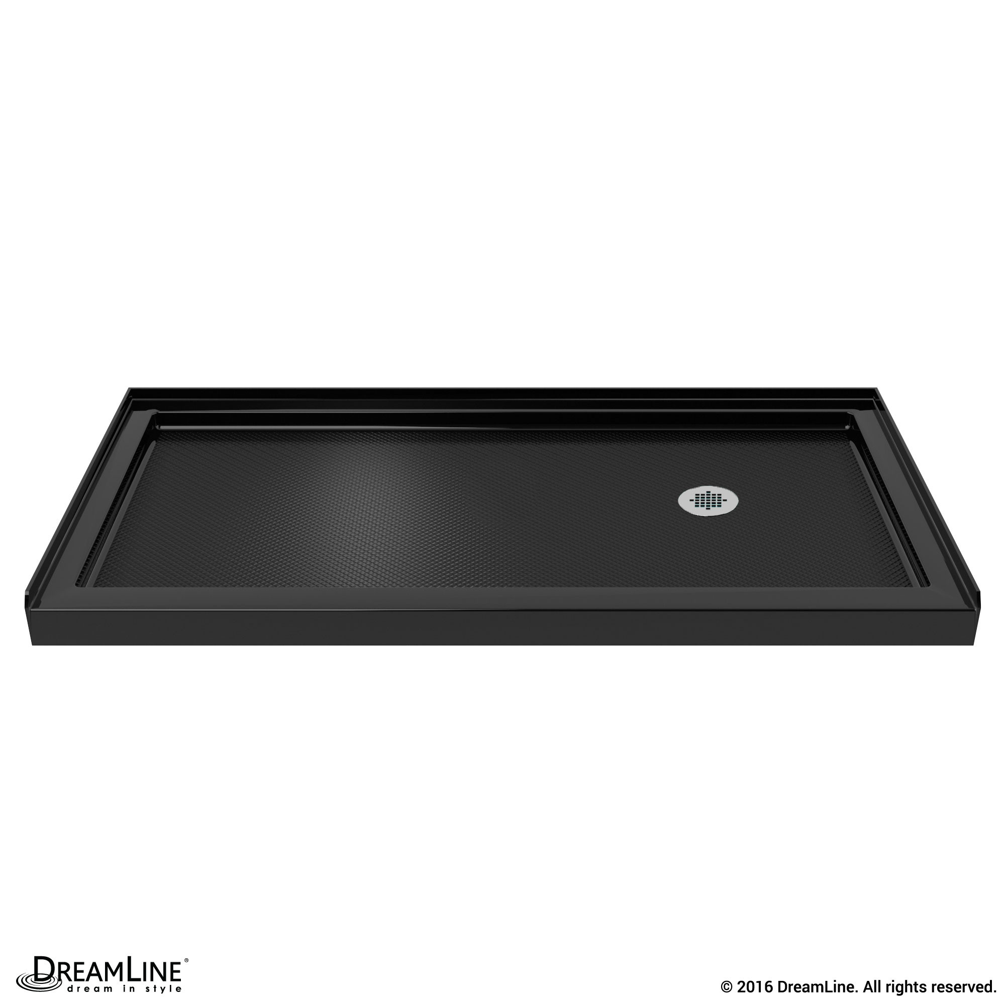 DreamLine DLT-1130602-88 SlimLine 30 Inch by 60 Inch Single Threshold Shower Base In Black Color Right Hand Drain