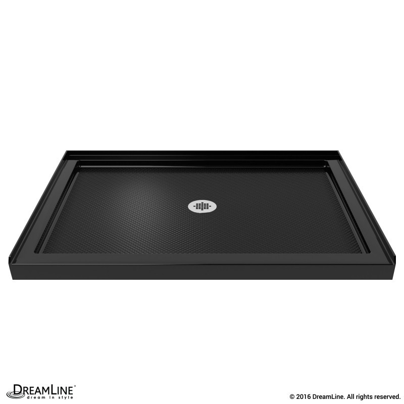 DreamLine DLT-1132480-88 SlimLine 32 Inch by 48 Inch Single Threshold Shower Base In Black Finish Center Drain Base