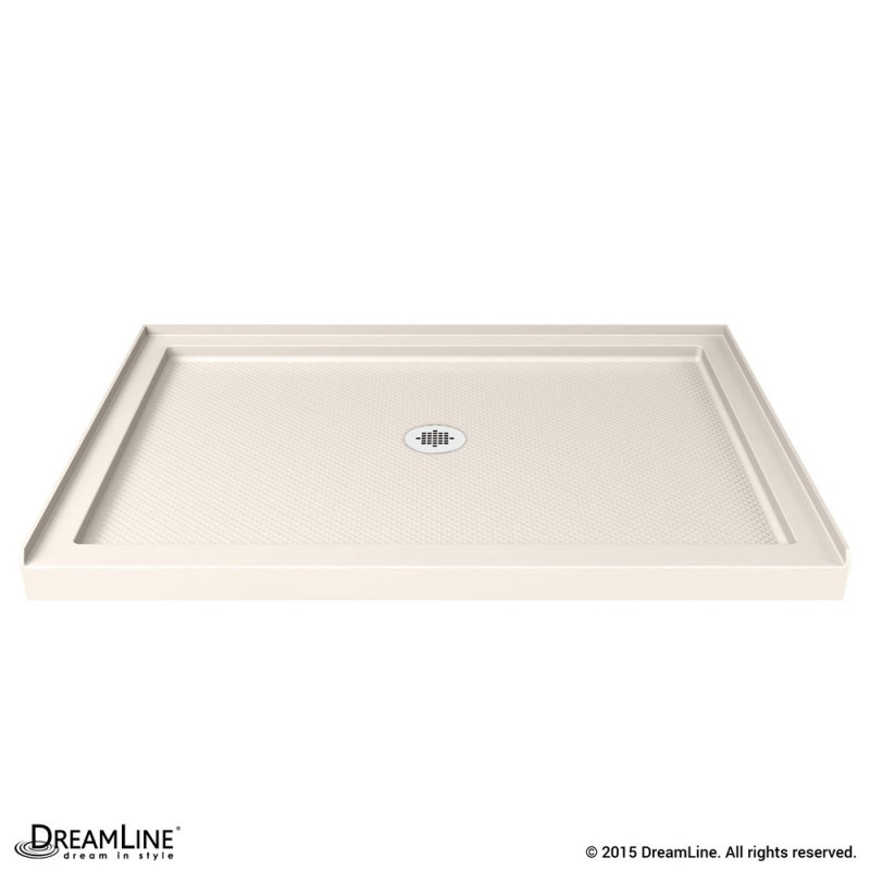 DreamLine DLT-1134420-22 SlimLine 34 Inch by 42 Inch Single Threshold Shower Base In Biscuit Color Center Drain Base