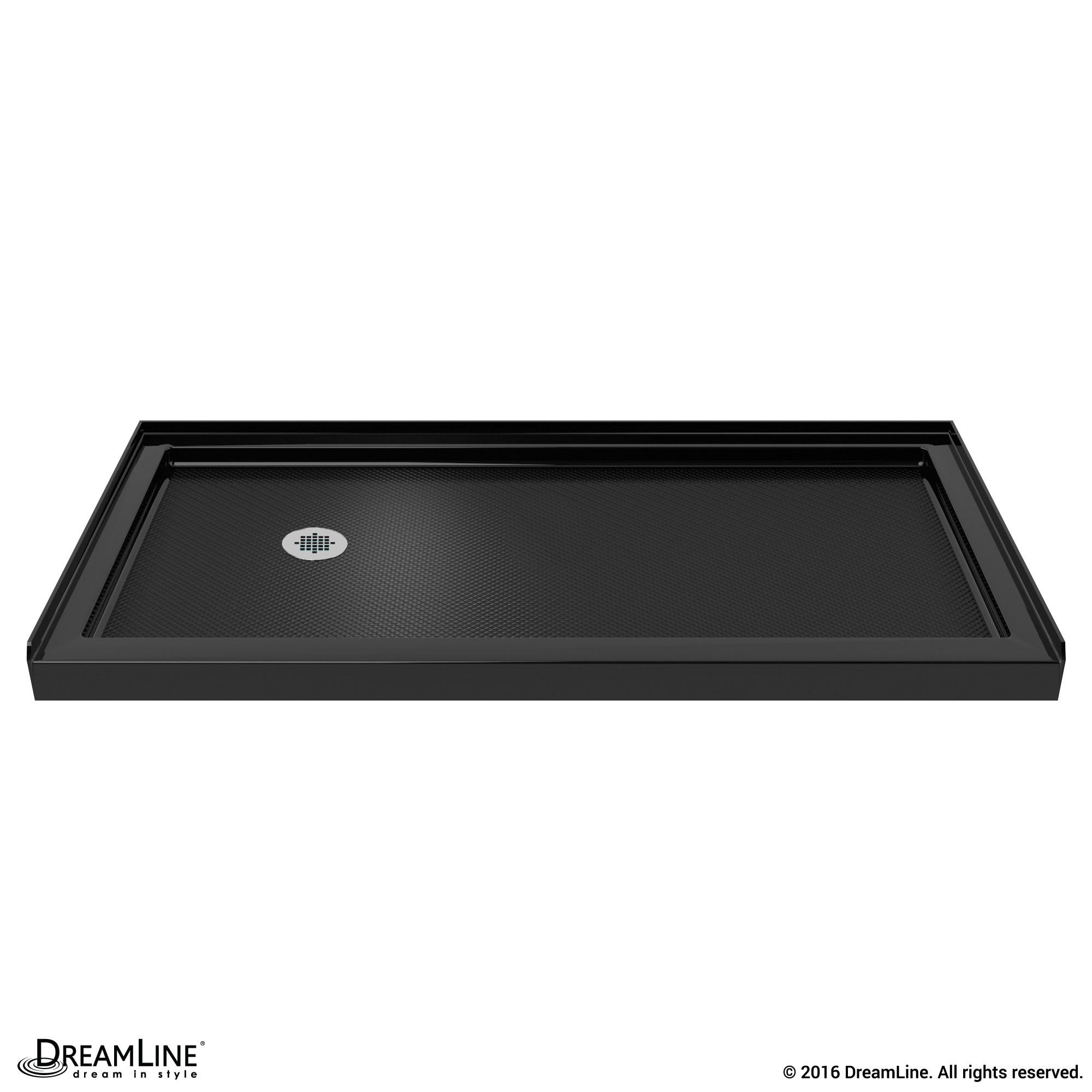 DreamLine DLT-1134601-88 SlimLine 34 Inch by 60 Inch Single Threshold Shower Base In Black Color Left Hand Drain