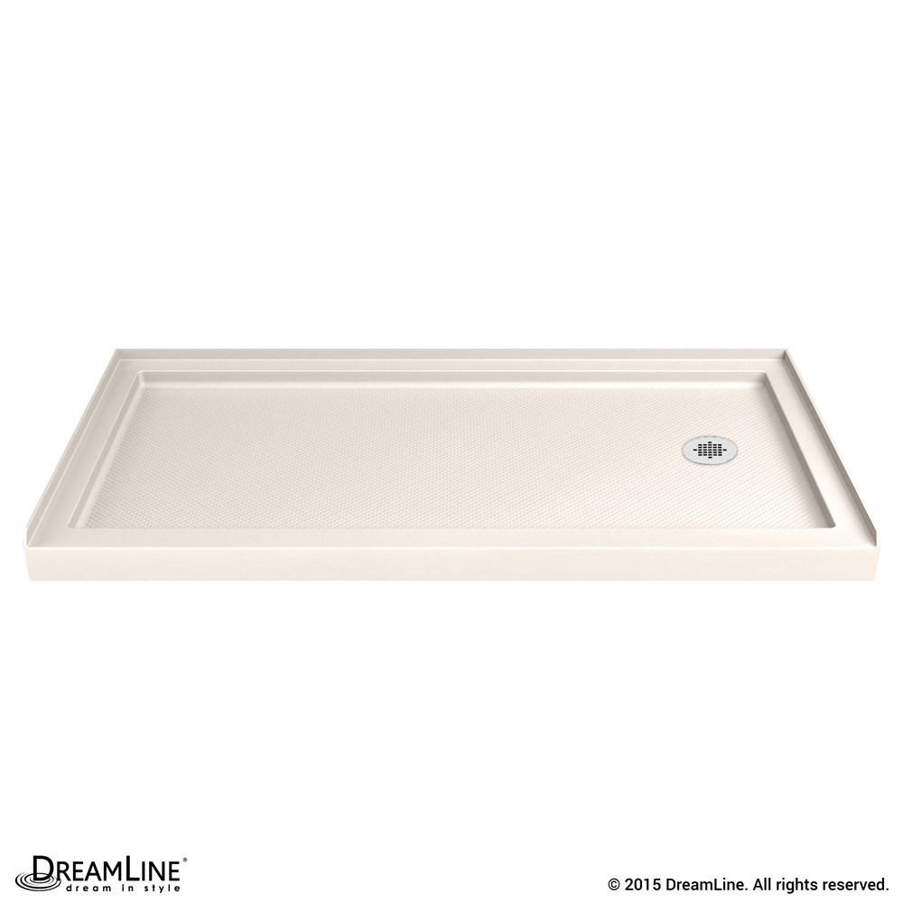 DreamLine DLT-1134602-22 SlimLine 34 Inch by 60 Inch Single Threshold Shower Base In Biscuit Color Right Hand Drain